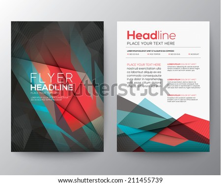 Abstract Triangle Geometric Brochure Flyer design Layout vector template in A4 size - stock vector