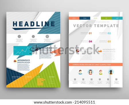 Abstract Triangle Geometric Vector Brochure Template. Flyer Layout. Flat Style. Infographic Elements. - stock vector