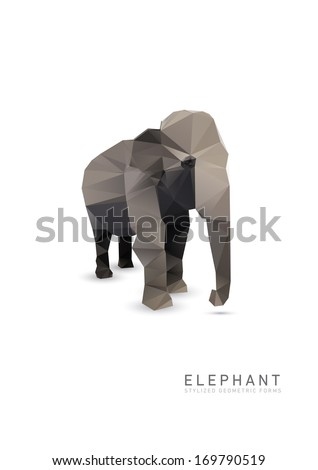 Abstract Triangle Geometrical Elephant Illustration. - stock vector