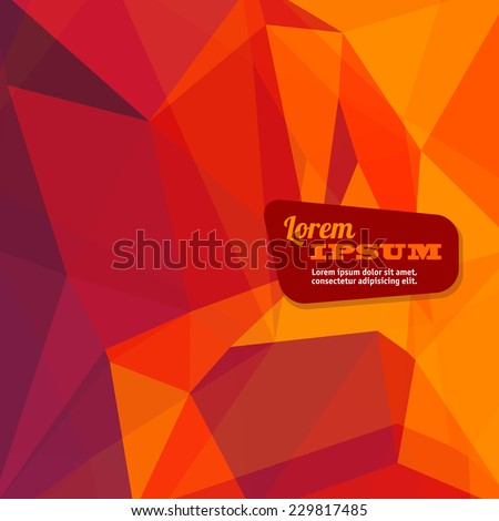 Abstract triangle geometrical fire orange background, Vector. - stock vector