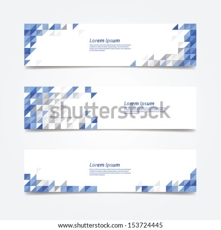 Abstract triangle mosaic. Clean decorative banners. Fresh and solid colors. Banner for company presentation. - stock vector