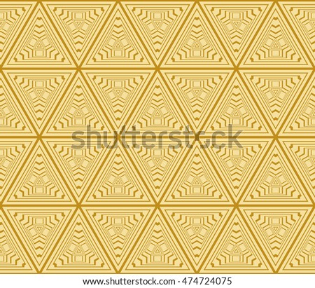 Abstract triangle pattern. complex geometric pattern of interwoven lines and shapes. seamless texture. for interior design, wallpaper, printing and textiles. gold colot