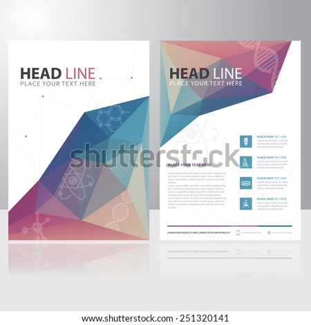 Abstract Triangle Polygon Science Education Brochure Flyer design vector template - stock vector