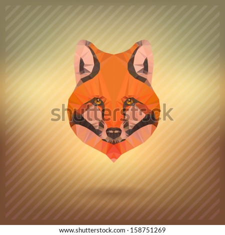 abstract  triangle polygonal fox snout origami animal style - stock vector