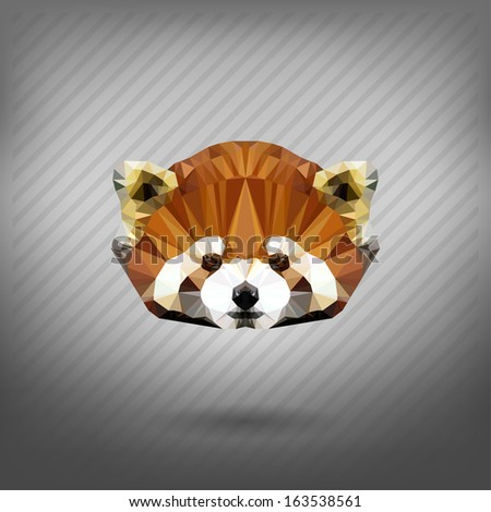 abstract triangle polygonal Lesser panda - stock vector