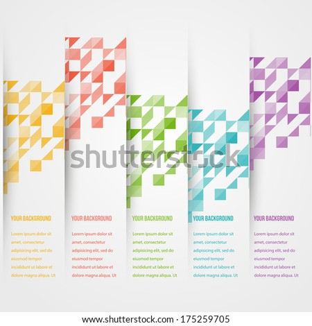 Abstract triangle template banner. Color set Vector. - stock vector