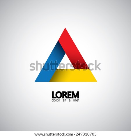 abstract triangle vector design template icon. This also represents creative technology symbol, business media sign, infinite triangle, geometric shapes - stock vector