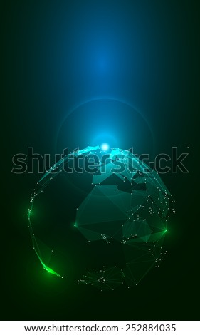 Abstract Triangles Planet Earth in Space. Stock Vector Illustration