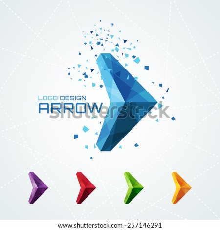 Abstract triangular arrow logo or sign or symbol. Vector illustration - stock vector