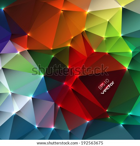 Abstract triangular background design with vibrant color tones - stock vector