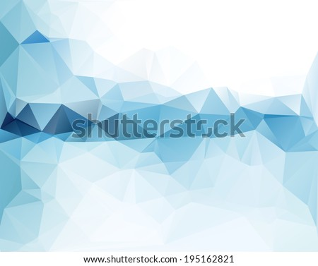 Abstract triangular blue background with polygonal abstract shapes - stock vector