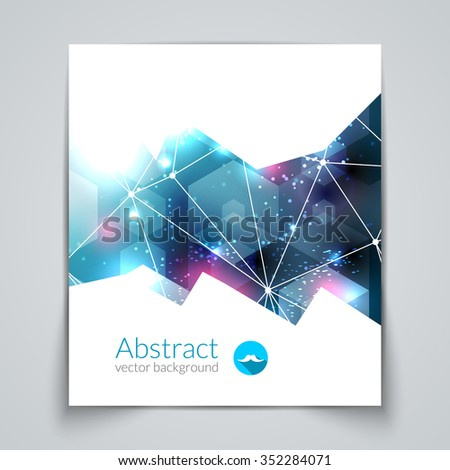 Abstract triangular 3D geometric colorful blue background cover report brochure template. - stock vector
