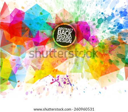 Abstract triangular & futuristic background with vibrant colors - stock vector