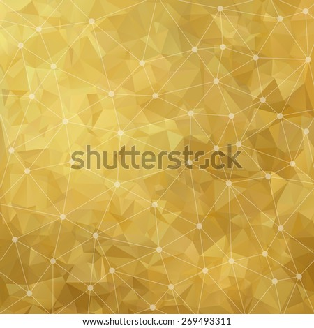 Abstract triangular gold background. Vector design EPS10 - stock vector