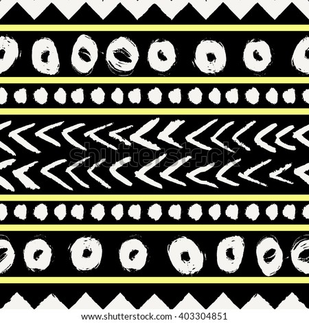 Abstract tribal seamless repeat pattern in black, neon yellow and cream. Modern and stylish abstract design poster, cover, card design. - stock vector