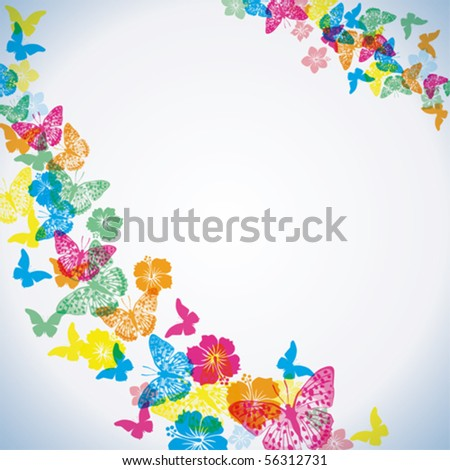 Abstract tropical background. flower and butterfly - stock vector