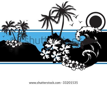 abstract tropical background, vector wallpaper - stock vector