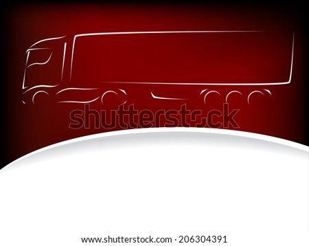 Abstract truck silhouette design on red background  - stock vector
