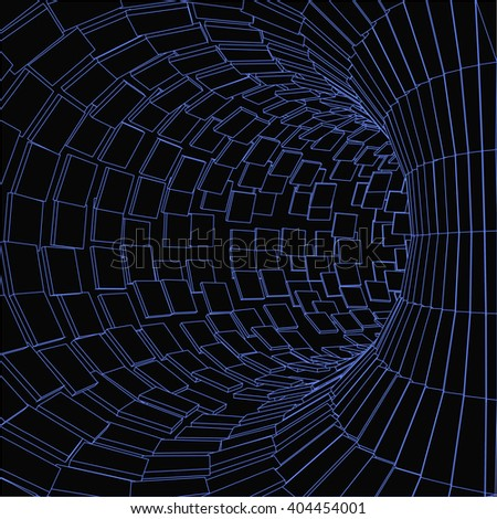 Abstract Tunnel. Futuristic Style. 3D Abstract Surface. Turning Tube Tunnel. Perspective Background. - stock vector