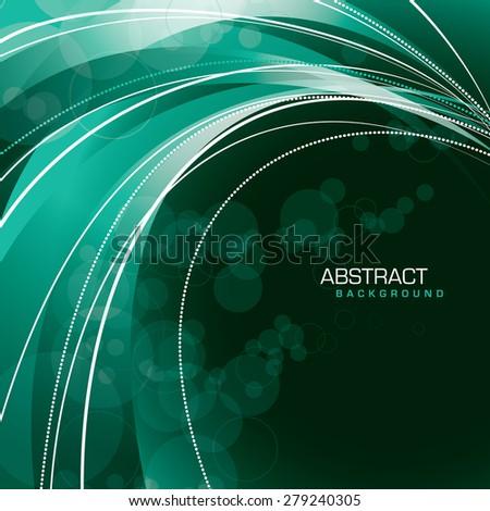 Abstract turquoise background with curved lines. - stock vector