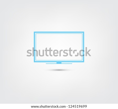 Abstract TV / monitor icon / button for websites (UI) or applications (app) for smartphones or tablets. Pictogram - stock vector
