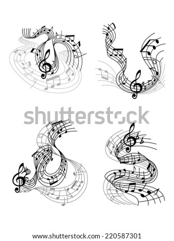 Abstract twisted musical compositions design with music waves, notes and treble clef