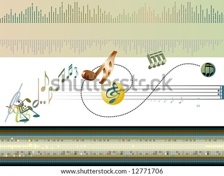 abstract type design with musical elements - stock vector