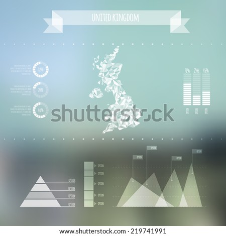 Abstract UK Map with Infographic Elements on Blurred Background - Vector Illustration - Webdesign Template - stock vector