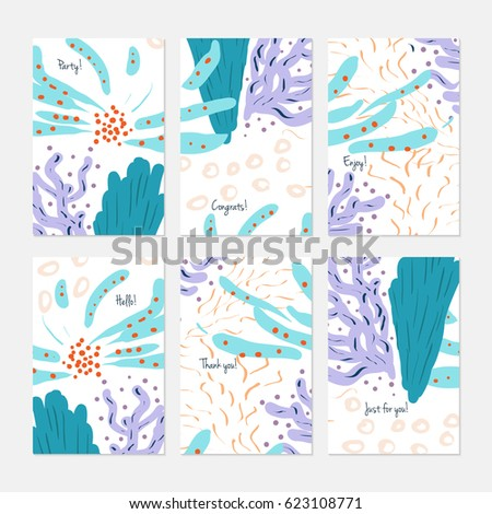 Abstract Underwater Seaweed Dotted Hand Drawn Creative Stock Vector ...