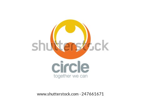 Abstract union circle shape Logo design vector template. Mother & child Logotype. Family Couple holding hands concept icon. - stock vector