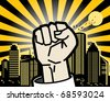 Abstract urban background with fist, vector illustration - stock vector