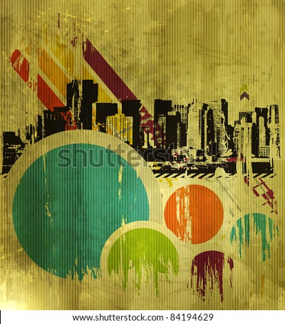 Abstract urban city on a texture background, vector illustration - stock vector