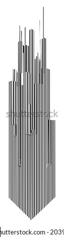 Abstract Urban City Skyscrapers Of Stripes Vector 178 - stock vector