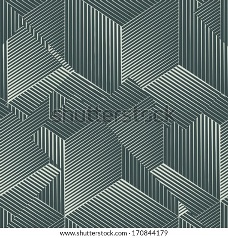Abstract urban optical illusion seamless pattern. Vector. - stock vector