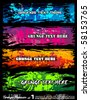Abstract Urban Style Grunge Banners with rainbow colours - stock vector