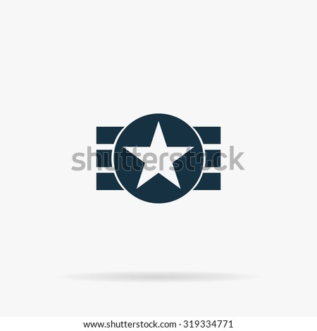 Abstract USA Flag Design. Flat vector web icon or sign on grey background with shadow. Collection modern trend concept design style illustration symbol - stock vector