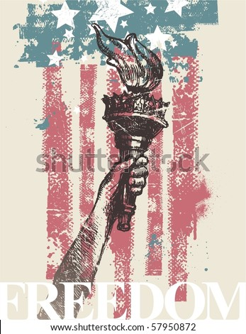 Abstract USA patriotic vector illustration - drawing hand of freedom with torch - stock vector