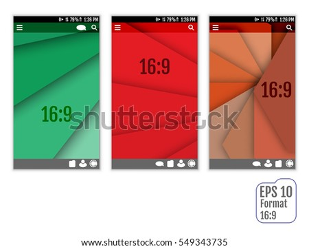 Abstract user interface templates of overlaps paper. set of ui material design background. Format 16:9
