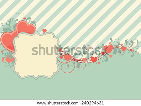 Abstract valentine background. Retro  ornate border with  hearts and copy space - stock vector
