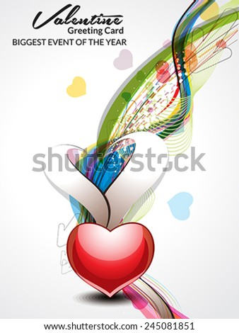 abstract valentine day wave background vector illustration  - stock vector