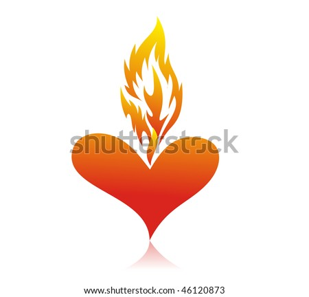 Abstract valentine's day card with fire heart background, vector illustration - stock vector