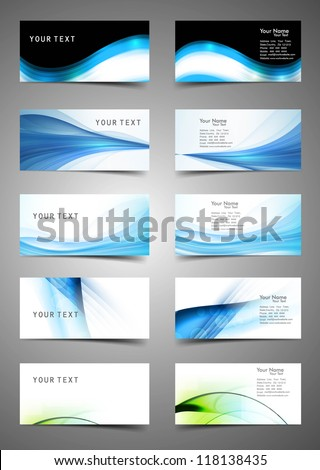abstract Various Business Card set collection wave design vector - stock vector