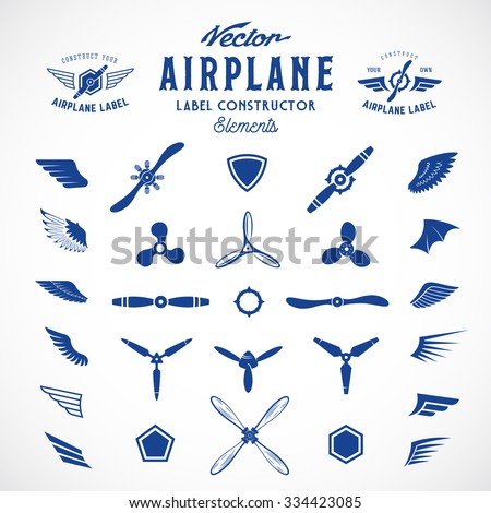 Abstract Vector Airplane Labels or Logos Construction Elements. Isolated. - stock vector