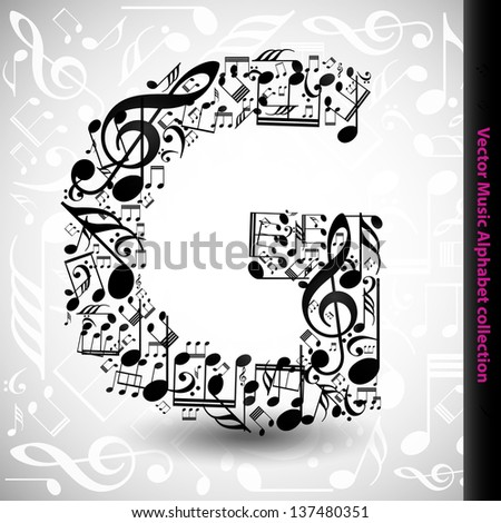 Letters Made of Music Notes