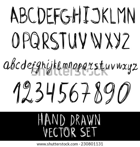 Abstract Vector Alphabet. Hand drawn letters and numbers. A set of numbers and letters in words for design illustration , backgrounds , textures , wallpaper,computer technologies,creation of clothing. - stock vector