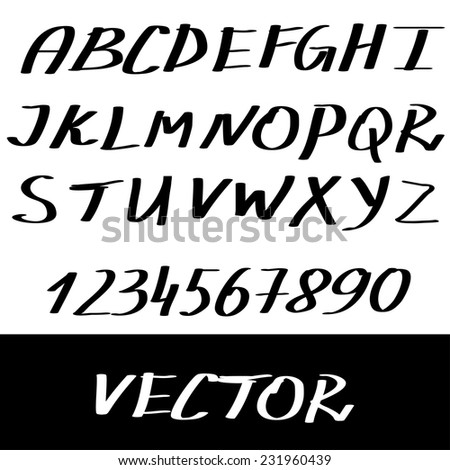 Abstract Vector Alphabet. Hand drawn letters for design illustration , backgrounds , textures , wallpaper,computer technologies,creation of clothing.