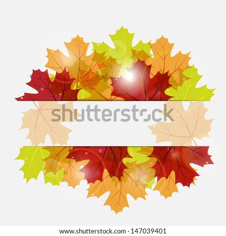 abstract vector autumn background with maple leaves and patches of sunlight