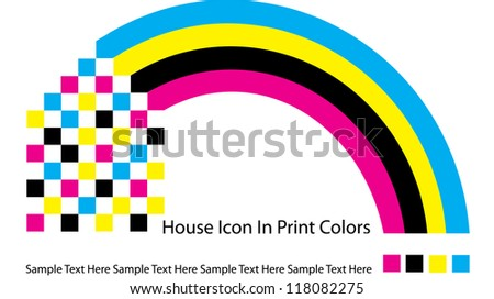 abstract vector backdrop design with house icon made of squares and rainbow in print colors isolated on white background with place for your text