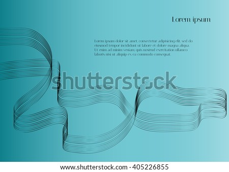 Abstract vector background. Black abstract ribbon on a blue background - stock vector
