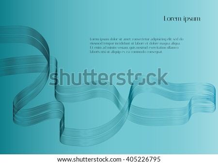 Abstract vector background. Blue abstract ribbon on light blue background - stock vector